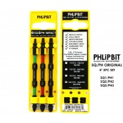 "PHLiPBiT Square & Phillips Impact Drive Bit 4"" (3pc Set)"